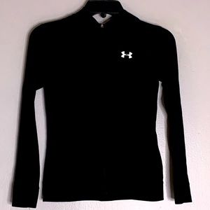 Under Armour black hooded running performance zip up youth activewear medium